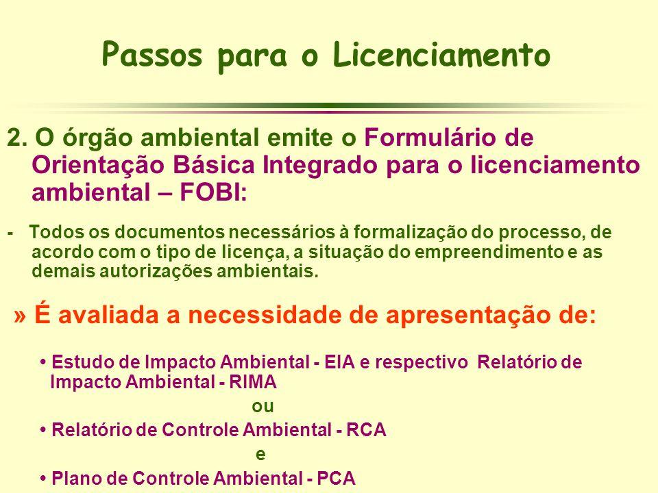 Passos para o Licenciamento 2. O órgão ambiental emite o Formulário de Orientação Básica Integrado para o licenciamento ambiental – FOBI: - Todos os d