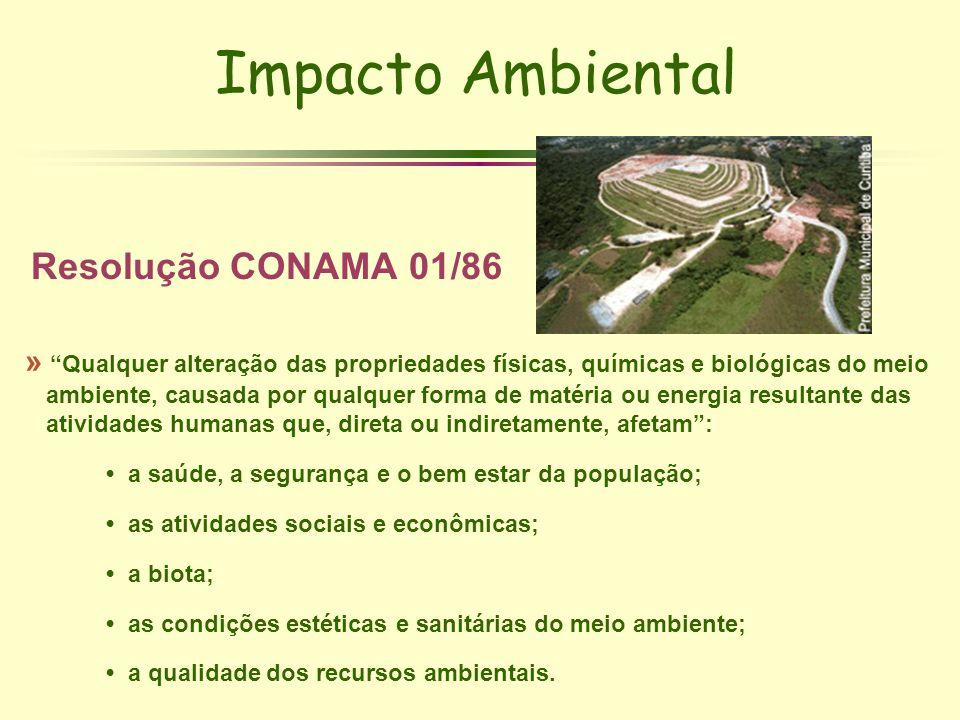 Impacto Ambiental Resolução CONAMA 01/86 » Qualquer alteração das propriedades físicas, químicas e biológicas do meio ambiente, causada por qualquer f