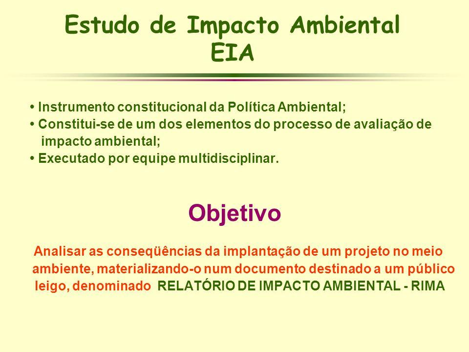 Estudo de Impacto Ambiental EIA Instrumento constitucional da Política Ambiental; Constitui-se de um dos elementos do processo de avaliação de impacto