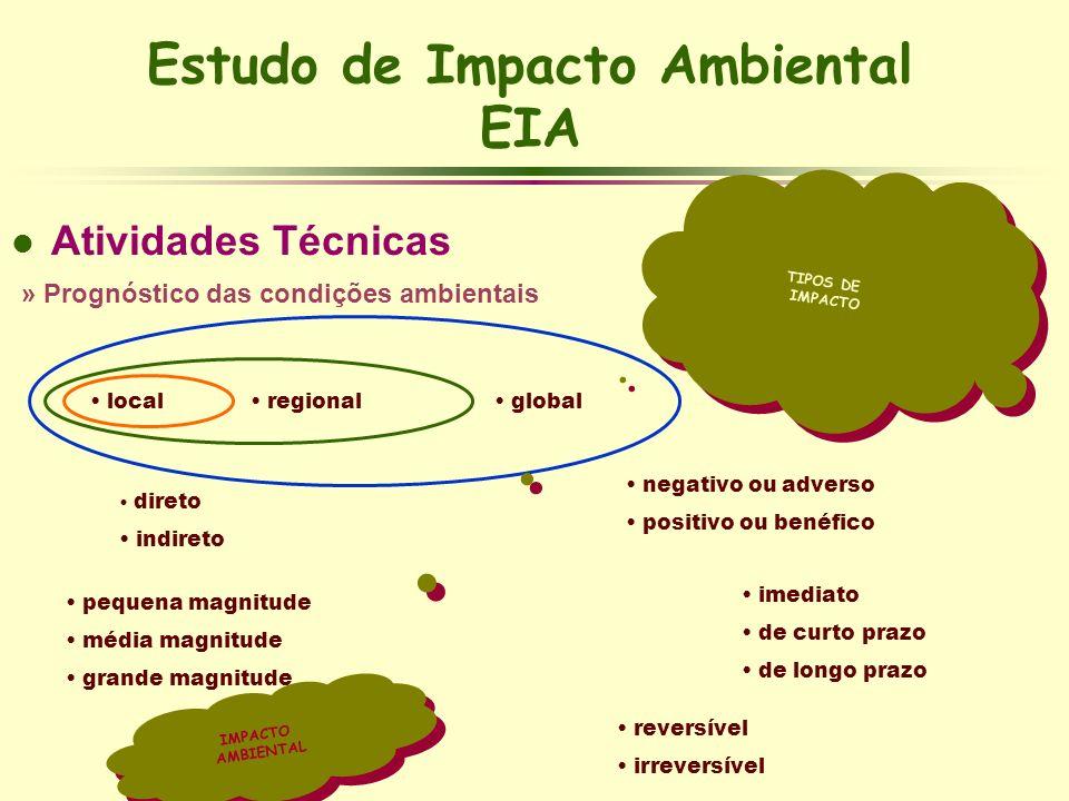Estudo de Impacto Ambiental EIA l Atividades Técnicas » Prognóstico das condições ambientais TIPOS DE IMPACTO TIPOS DE IMPACTO local regional global d