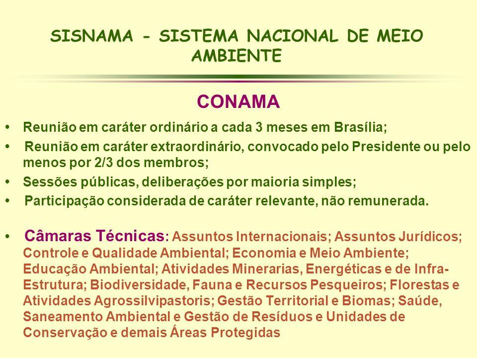 SISNAMA - SISTEMA NACIONAL DE MEIO AMBIENTE CONAMA Reunião em caráter ordinário a cada 3 meses em Brasília; Reunião em caráter extraordinário, convoca