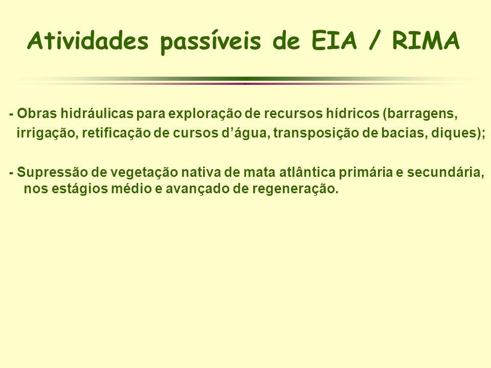 Atividades passíveis de EIA / RIMA - Obras hidráulicas para exploração de recursos hídricos (barragens, irrigação, retificação de cursos dágua, transp