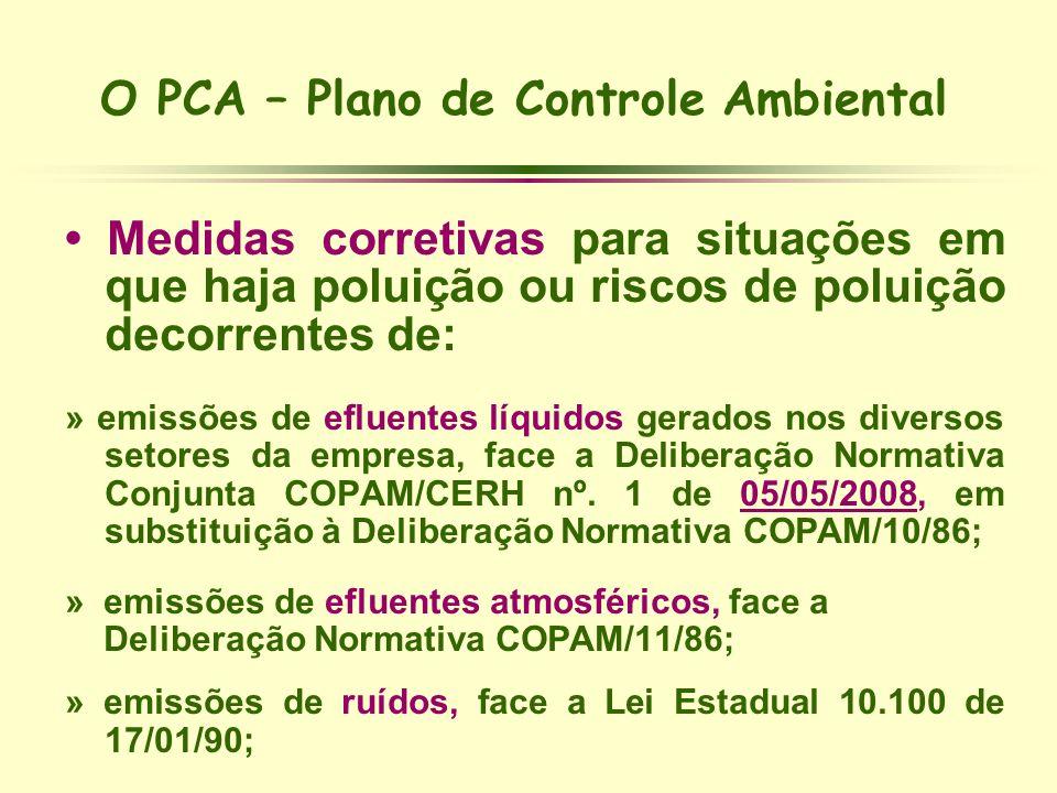 O PCA – Plano de Controle Ambiental Medidas corretivas para situações em que haja poluição ou riscos de poluição decorrentes de: » emissões de efluent