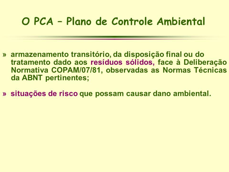 O PCA – Plano de Controle Ambiental » armazenamento transitório, da disposição final ou do tratamento dado aos resíduos sólidos, face à Deliberação No