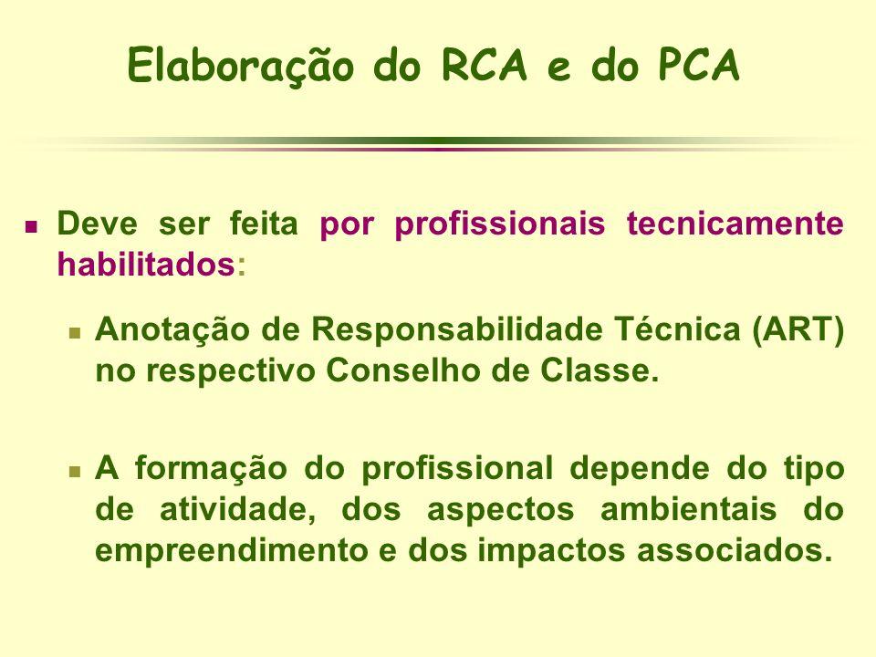Elaboração do RCA e do PCA Deve ser feita por profissionais tecnicamente habilitados: Anotação de Responsabilidade Técnica (ART) no respectivo Conselh