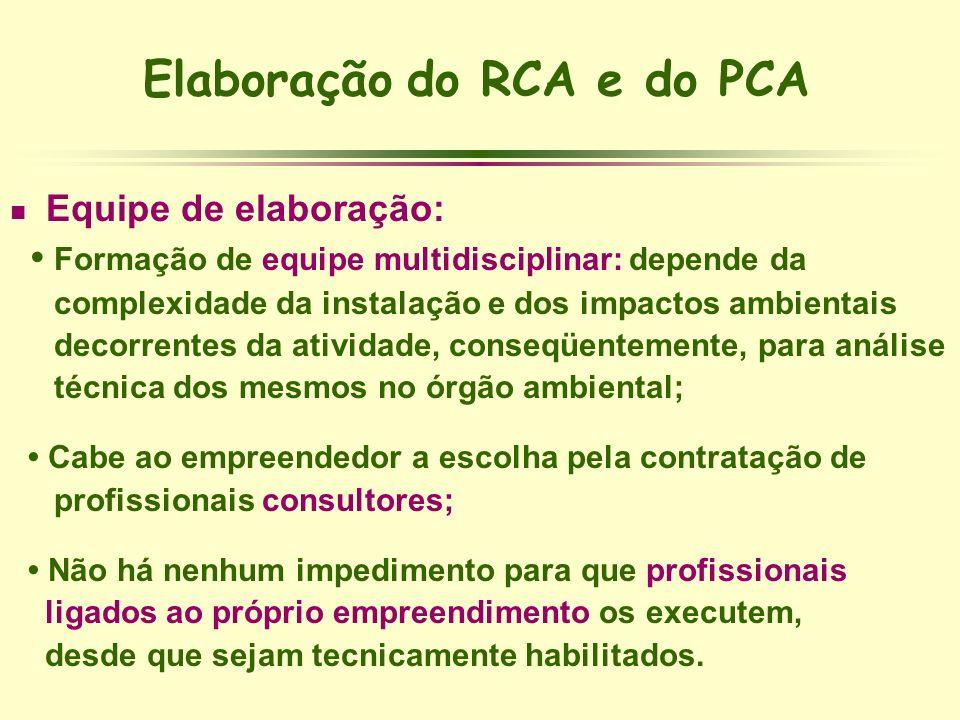 Elaboração do RCA e do PCA Equipe de elaboração: Formação de equipe multidisciplinar: depende da complexidade da instalação e dos impactos ambientais