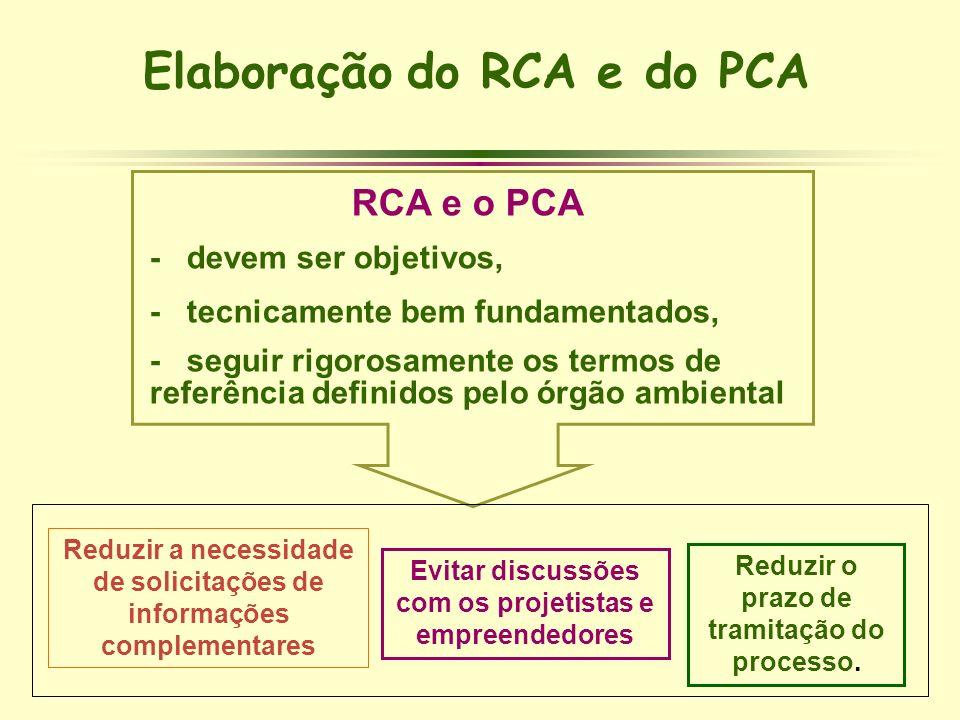 Elaboração do RCA e do PCA RCA e o PCA - devem ser objetivos, - tecnicamente bem fundamentados, - seguir rigorosamente os termos de referência definid
