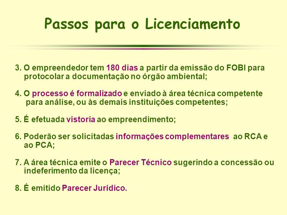 Passos para o Licenciamento 3. O empreendedor tem 180 dias a partir da emissão do FOBI para protocolar a documentação no órgão ambiental; 4. O process