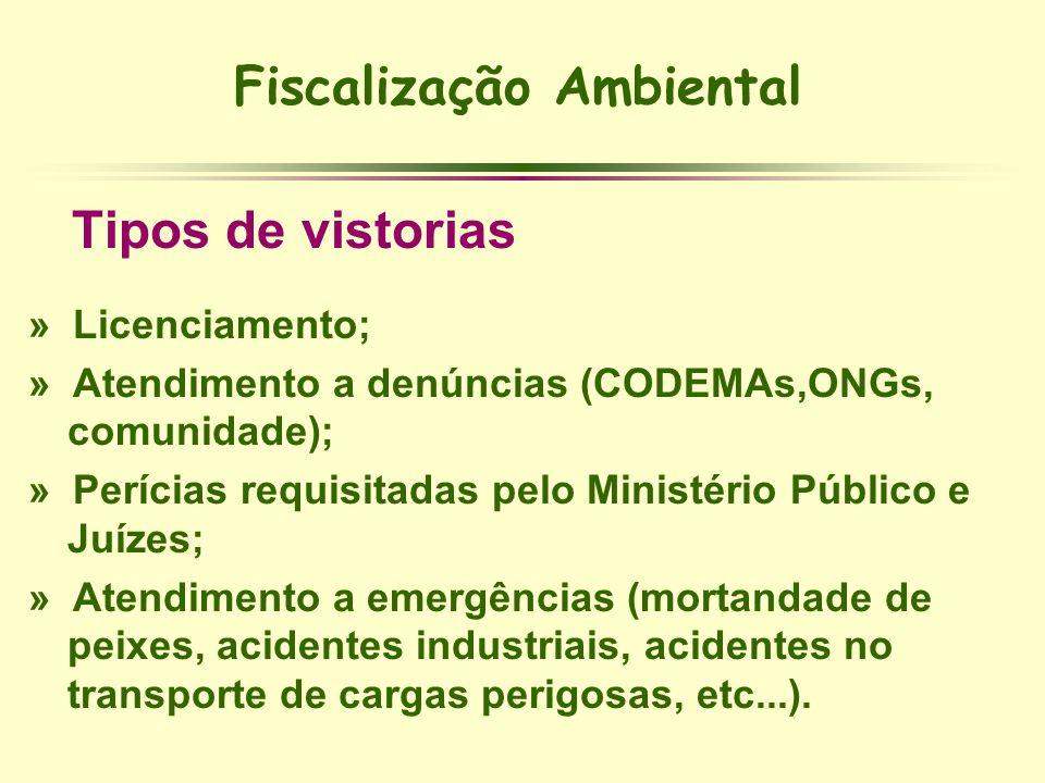 Fiscalização Ambiental Tipos de vistorias » Licenciamento; » Atendimento a denúncias (CODEMAs,ONGs, comunidade); » Perícias requisitadas pelo Ministér