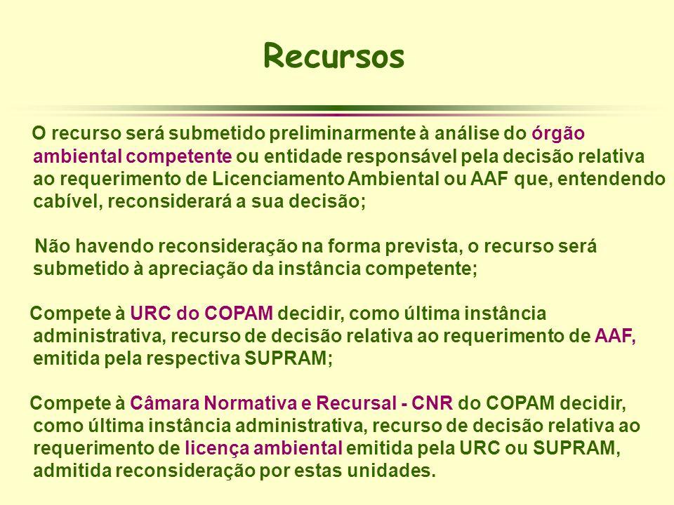 Recursos O recurso será submetido preliminarmente à análise do órgão ambiental competente ou entidade responsável pela decisão relativa ao requeriment