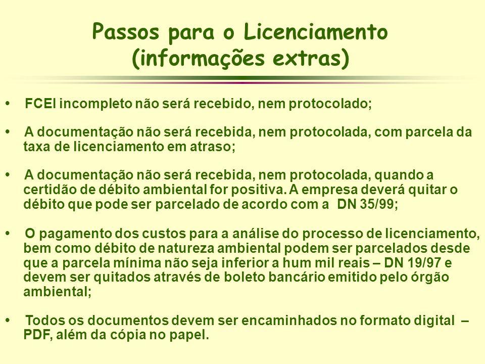 Passos para o Licenciamento (informações extras) FCEI incompleto não será recebido, nem protocolado; A documentação não será recebida, nem protocolada