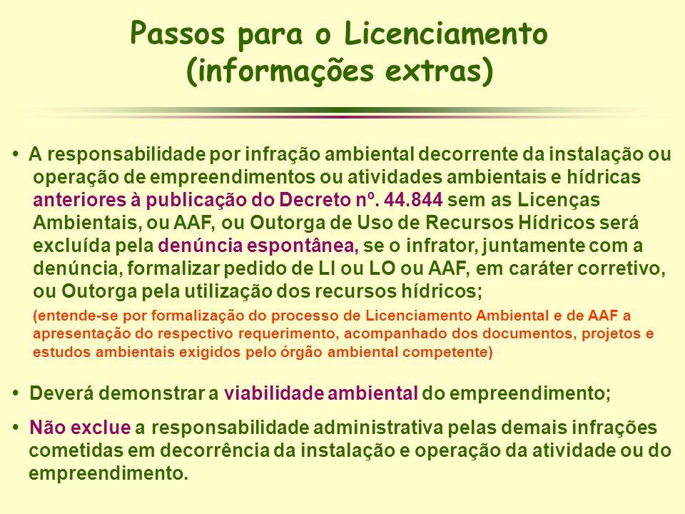 Passos para o Licenciamento (informações extras) A responsabilidade por infração ambiental decorrente da instalação ou operação de empreendimentos ou