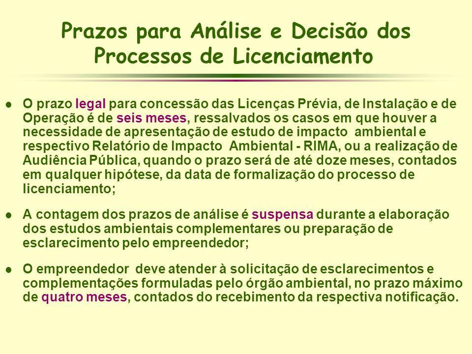 l O prazo legal para concessão das Licenças Prévia, de Instalação e de Operação é de seis meses, ressalvados os casos em que houver a necessidade de a