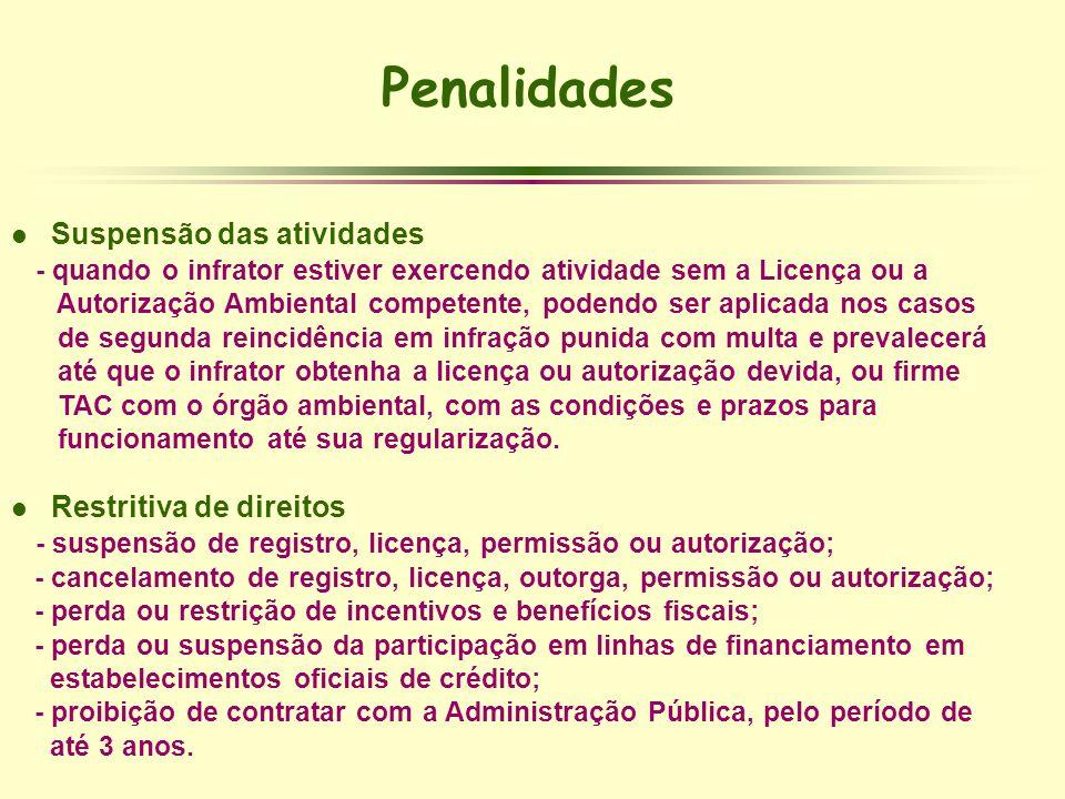 Penalidades l Suspensão das atividades - quando o infrator estiver exercendo atividade sem a Licença ou a Autorização Ambiental competente, podendo se