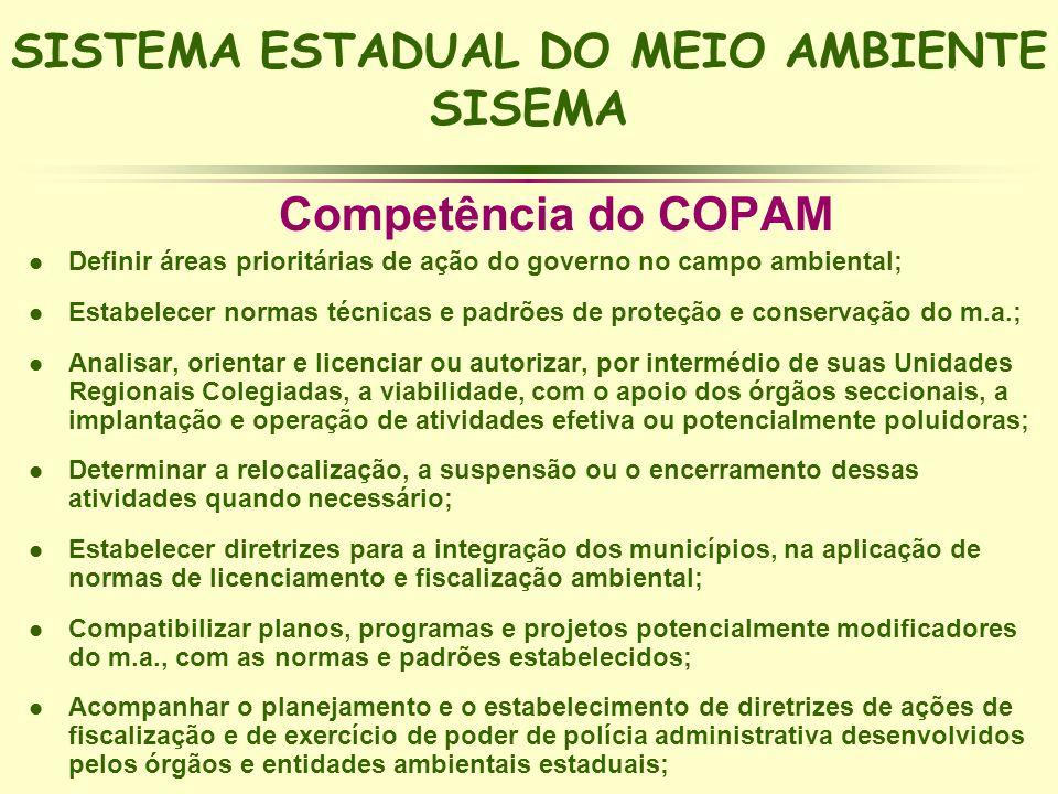 SISTEMA ESTADUAL DO MEIO AMBIENTE SISEMA Competência do COPAM l Definir áreas prioritárias de ação do governo no campo ambiental; l Estabelecer normas