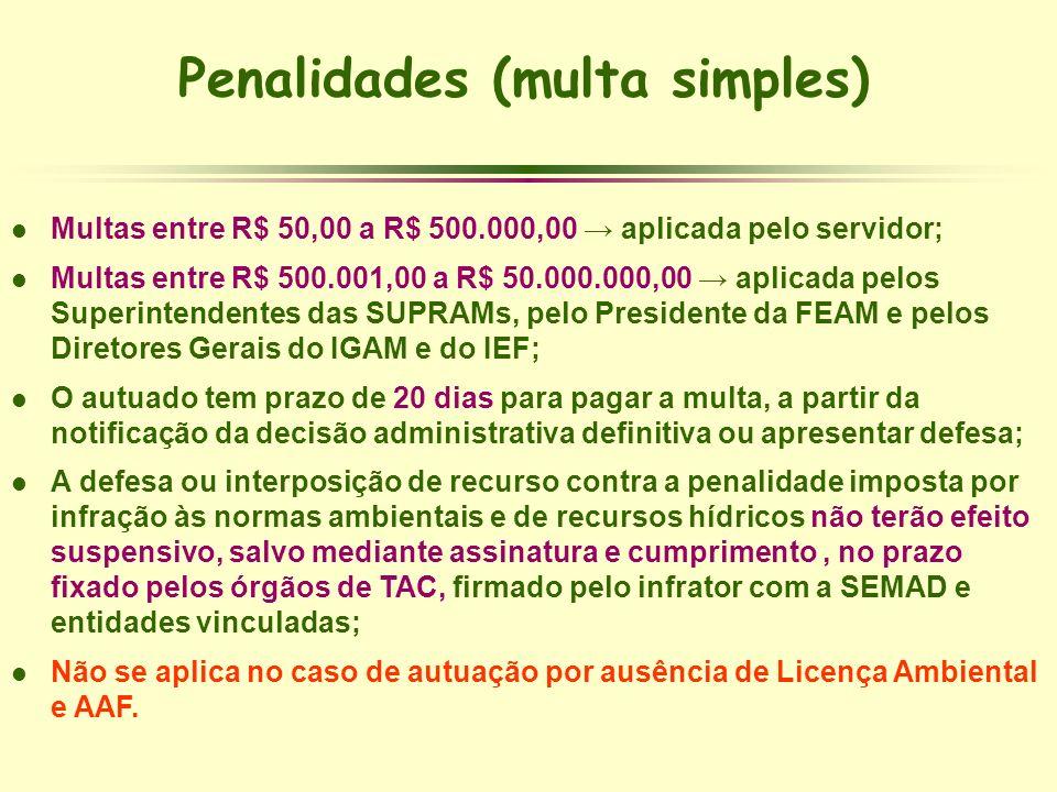 Penalidades (multa simples) l Multas entre R$ 50,00 a R$ 500.000,00 aplicada pelo servidor; l Multas entre R$ 500.001,00 a R$ 50.000.000,00 aplicada p