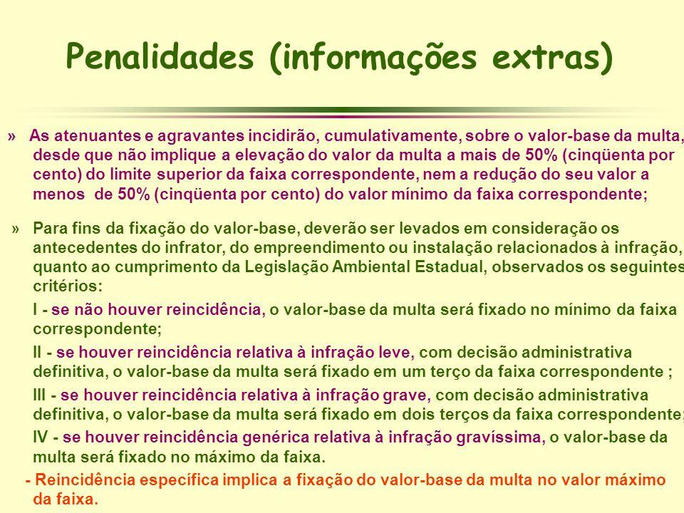 Penalidades (informações extras) » As atenuantes e agravantes incidirão, cumulativamente, sobre o valor-base da multa, desde que não implique a elevaç