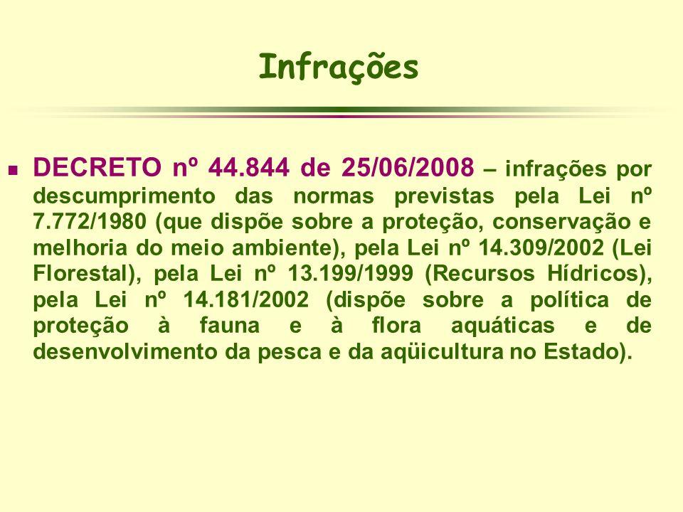 Infrações DECRETO nº 44.844 de 25/06/2008 – infrações por descumprimento das normas previstas pela Lei nº 7.772/1980 (que dispõe sobre a proteção, con