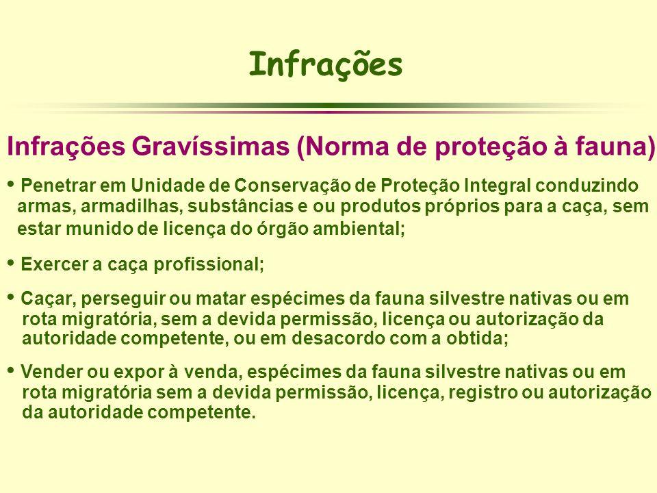 Infrações Infrações Gravíssimas (Norma de proteção à fauna) Penetrar em Unidade de Conservação de Proteção Integral conduzindo armas, armadilhas, subs