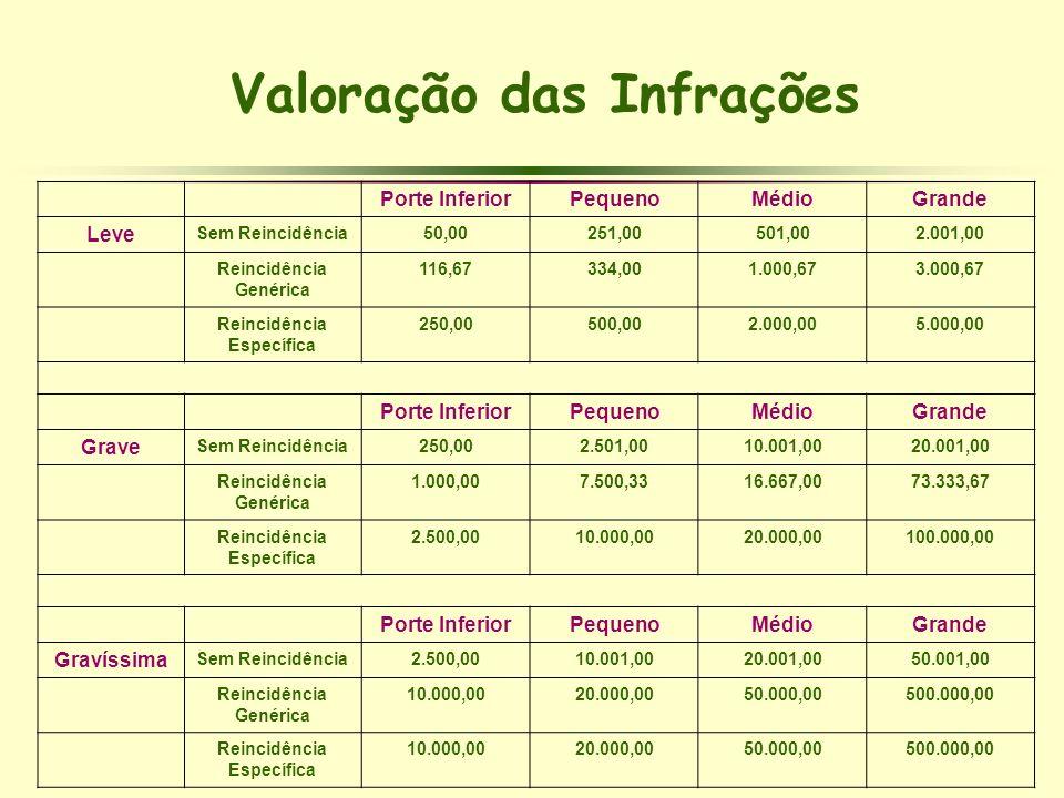 Porte InferiorPequenoMédioGrande Leve Sem Reincidência50,00251,00501,002.001,00 Reincidência Genérica 116,67334,001.000,673.000,67 Reincidência Especí