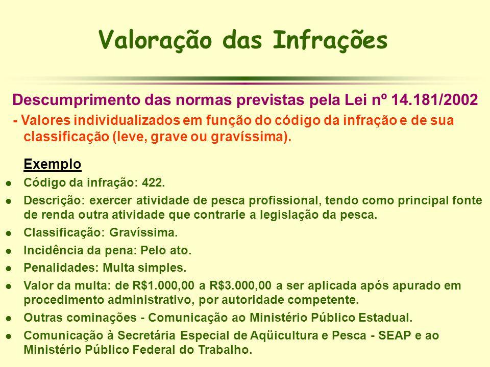 Valoração das Infrações Descumprimento das normas previstas pela Lei nº 14.181/2002 - Valores individualizados em função do código da infração e de su