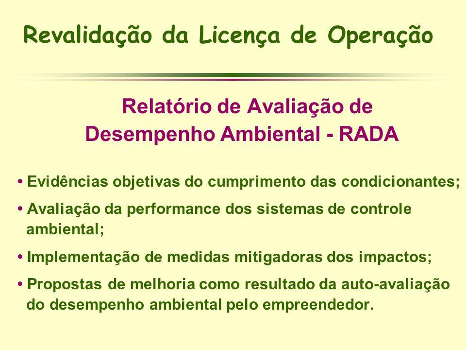 Revalidação da Licença de Operação § Relatório de Avaliação de §Desempenho Ambiental - RADA Evidências objetivas do cumprimento das condicionantes; Av