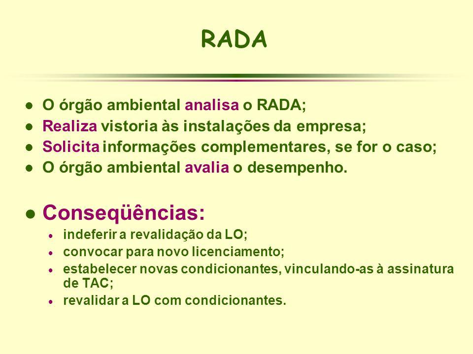 l O órgão ambiental analisa o RADA; l Realiza vistoria às instalações da empresa; l Solicita informações complementares, se for o caso; l O órgão ambi