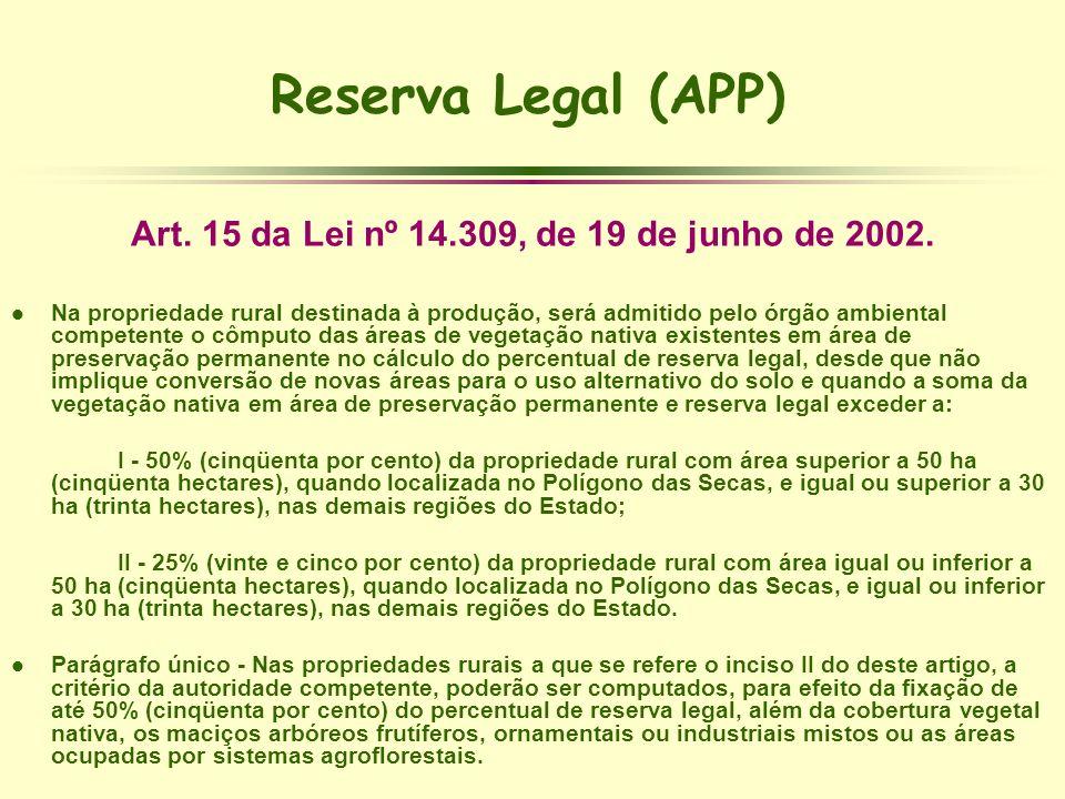 Reserva Legal (APP) Art. 15 da Lei nº 14.309, de 19 de junho de 2002. l Na propriedade rural destinada à produção, será admitido pelo órgão ambiental