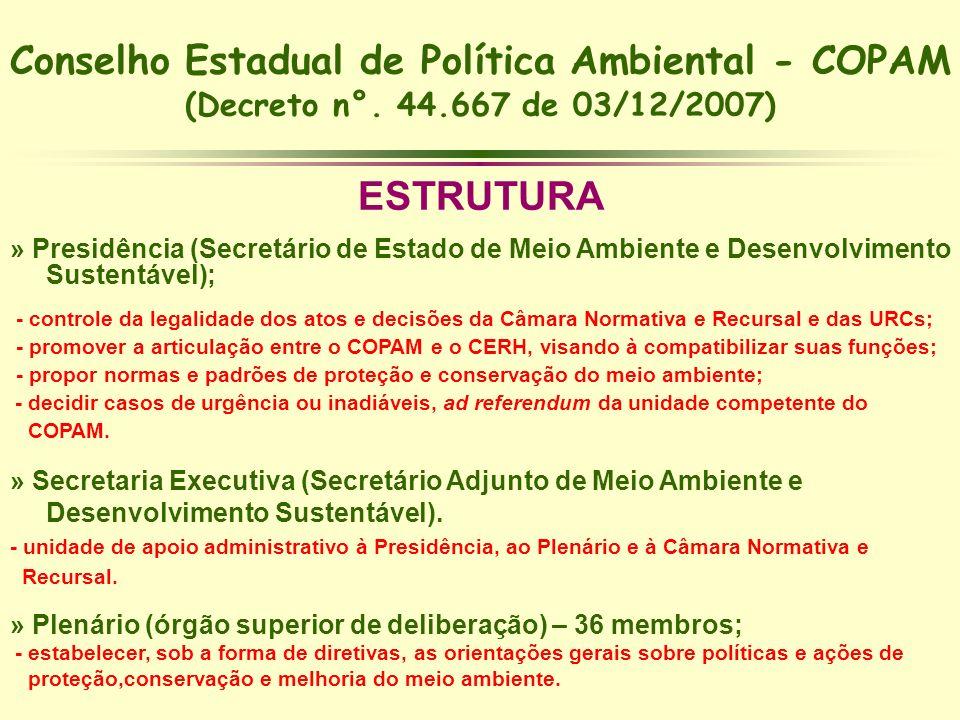 Conselho Estadual de Política Ambiental - COPAM (Decreto n°. 44.667 de 03/12/2007) ESTRUTURA » Presidência (Secretário de Estado de Meio Ambiente e De