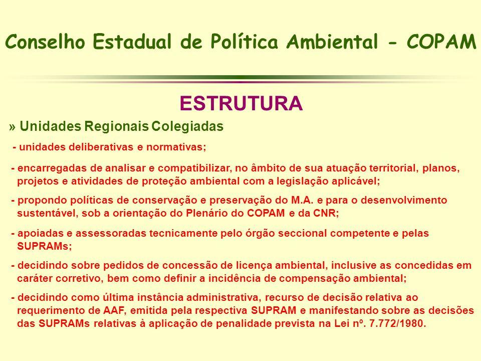 Conselho Estadual de Política Ambiental - COPAM ESTRUTURA » Unidades Regionais Colegiadas - unidades deliberativas e normativas; - encarregadas de ana