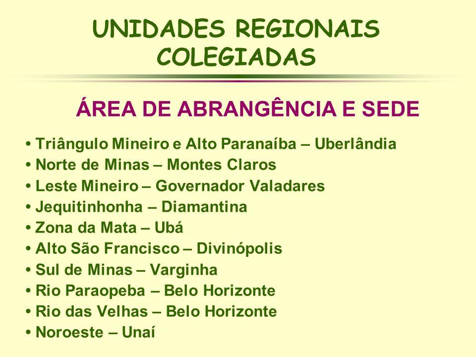 UNIDADES REGIONAIS COLEGIADAS ÁREA DE ABRANGÊNCIA E SEDE Triângulo Mineiro e Alto Paranaíba – Uberlândia Norte de Minas – Montes Claros Leste Mineiro
