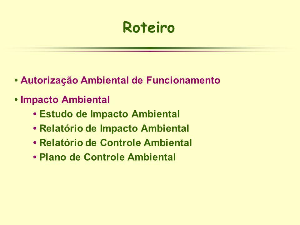 Roteiro Autorização Ambiental de Funcionamento Impacto Ambiental Estudo de Impacto Ambiental Relatório de Impacto Ambiental Relatório de Controle Ambi