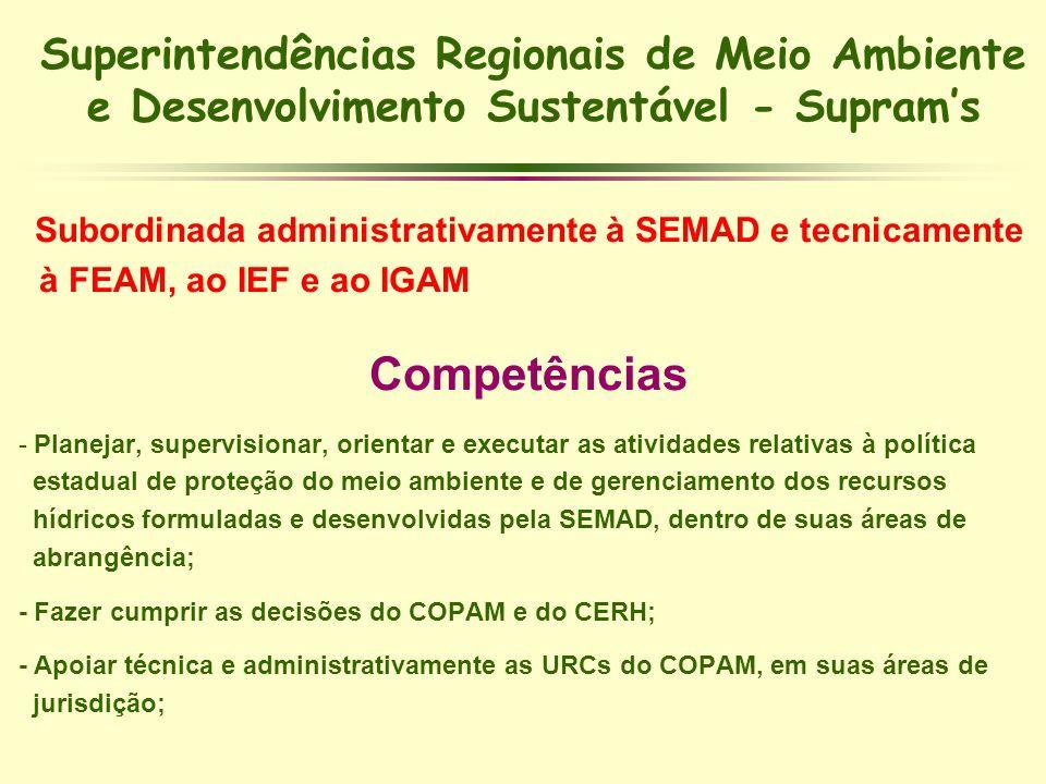 Superintendências Regionais de Meio Ambiente e Desenvolvimento Sustentável - Suprams Subordinada administrativamente à SEMAD e tecnicamente à FEAM, ao