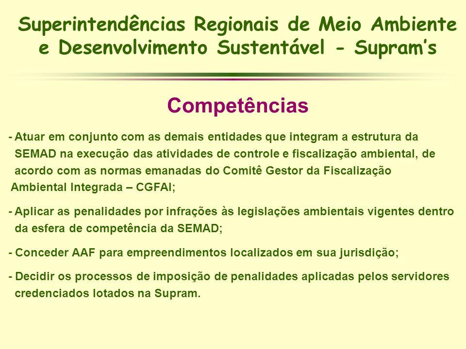 Superintendências Regionais de Meio Ambiente e Desenvolvimento Sustentável - Suprams Competências - Atuar em conjunto com as demais entidades que inte