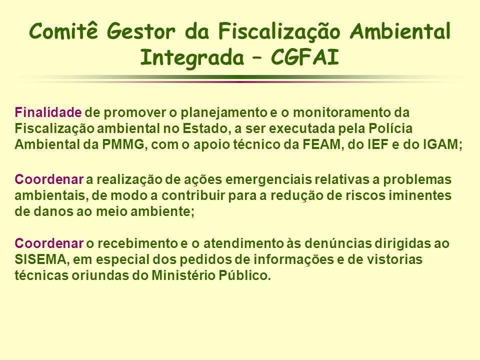Comitê Gestor da Fiscalização Ambiental Integrada – CGFAI Finalidade de promover o planejamento e o monitoramento da Fiscalização ambiental no Estado,