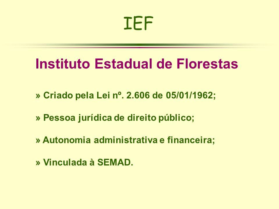 IEF Instituto Estadual de Florestas » Criado pela Lei nº. 2.606 de 05/01/1962; » Pessoa jurídica de direito público; » Autonomia administrativa e fina