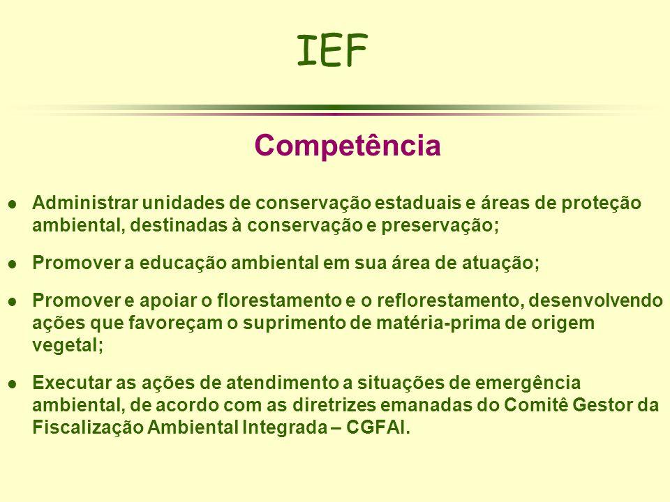 IEF Competência l Administrar unidades de conservação estaduais e áreas de proteção ambiental, destinadas à conservação e preservação; l Promover a ed