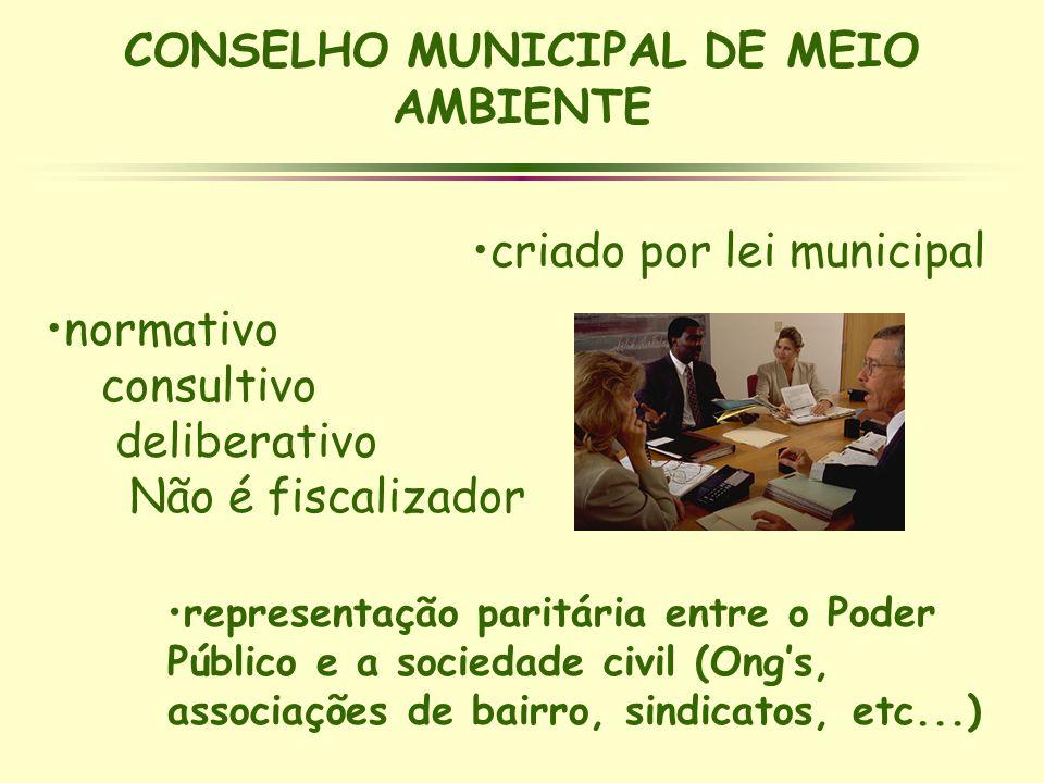 CONSELHO MUNICIPAL DE MEIO AMBIENTE normativo consultivo deliberativo Não é fiscalizador representação paritária entre o Poder Público e a sociedade c