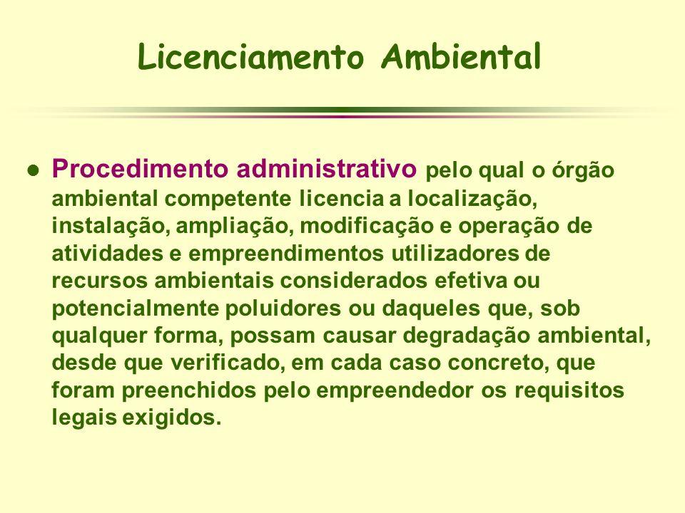 Licenciamento Ambiental l Procedimento administrativo pelo qual o órgão ambiental competente licencia a localização, instalação, ampliação, modificaçã