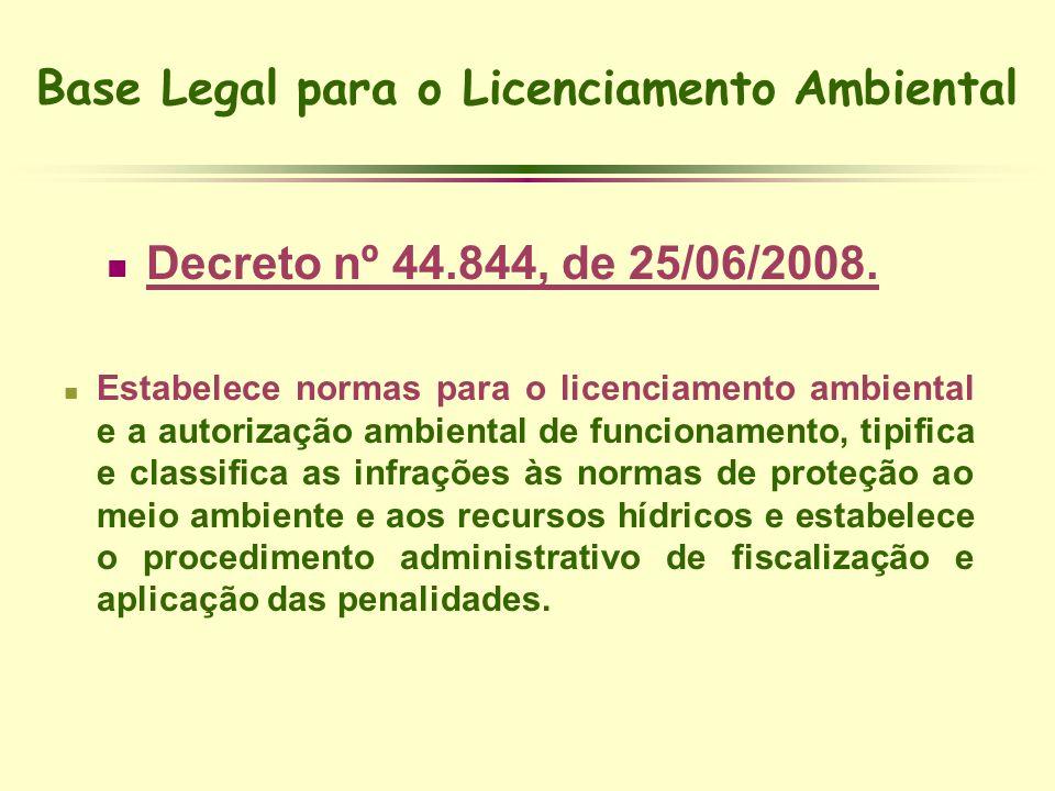Base Legal para o Licenciamento Ambiental Decreto nº 44.844, de 25/06/2008. Estabelece normas para o licenciamento ambiental e a autorização ambiental