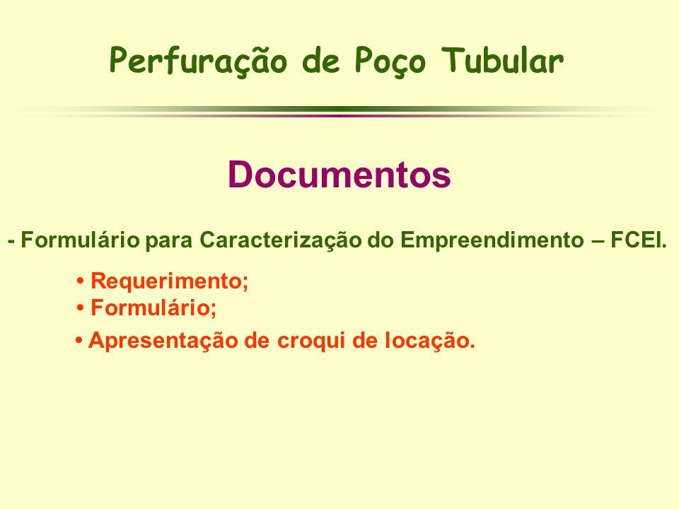 Perfuração de Poço Tubular Documentos - Formulário para Caracterização do Empreendimento – FCEI. Requerimento; Formulário; Apresentação de croqui de l