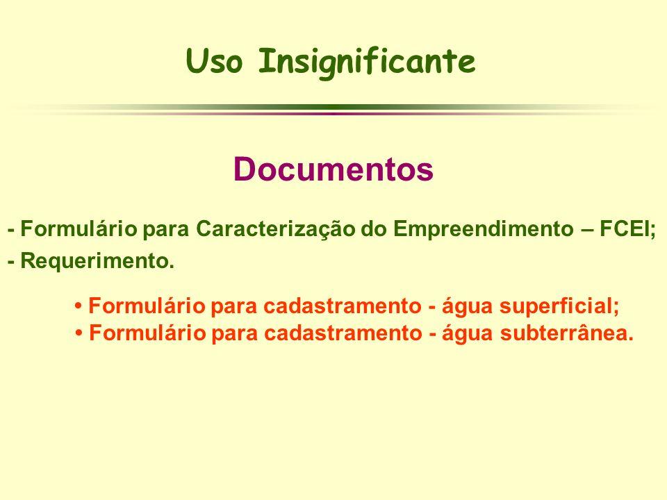 Uso Insignificante Documentos - Formulário para Caracterização do Empreendimento – FCEI; - Requerimento. Formulário para cadastramento - água superfic