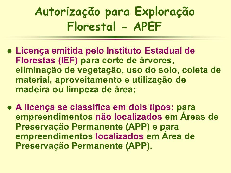 Autorização para Exploração Florestal - APEF l Licença emitida pelo Instituto Estadual de Florestas (IEF) para corte de árvores, eliminação de vegetaç