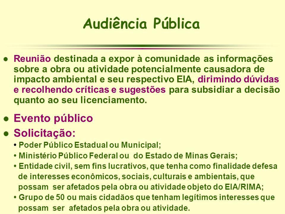 Audiência Pública l Reunião destinada a expor à comunidade as informações sobre a obra ou atividade potencialmente causadora de impacto ambiental e se