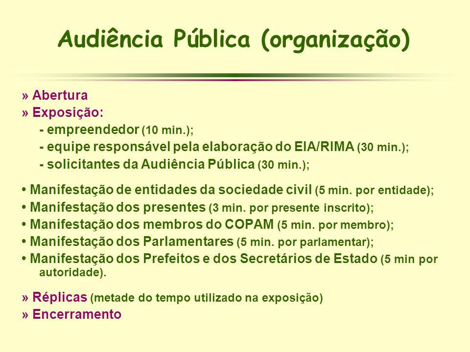 Audiência Pública (organização) » Abertura » Exposição: - empreendedor (10 min.); - equipe responsável pela elaboração do EIA/RIMA (30 min.); - solici