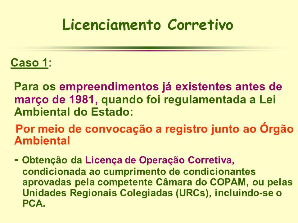 Licenciamento Corretivo Caso 1: Para os empreendimentos já existentes antes de março de 1981, quando foi regulamentada a Lei Ambiental do Estado: Por