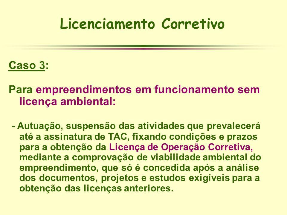 Licenciamento Corretivo Caso 3: Para empreendimentos em funcionamento sem licença ambiental: - Autuação, suspensão das atividades que prevalecerá até