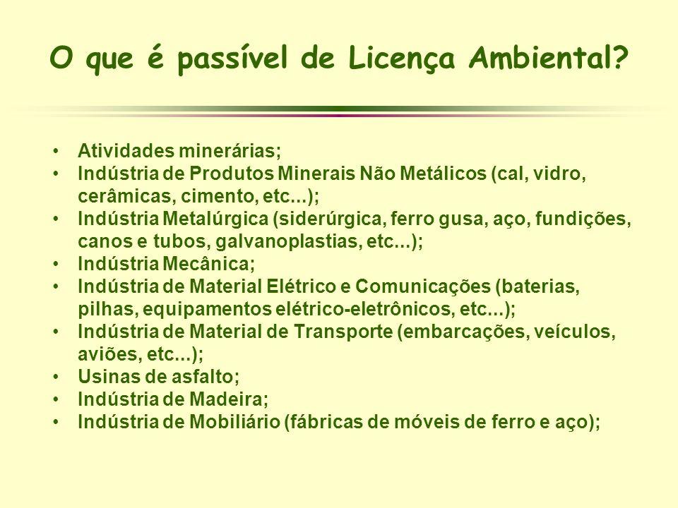 O que é passível de Licença Ambiental? Atividades minerárias; Indústria de Produtos Minerais Não Metálicos (cal, vidro, cerâmicas, cimento, etc...); I