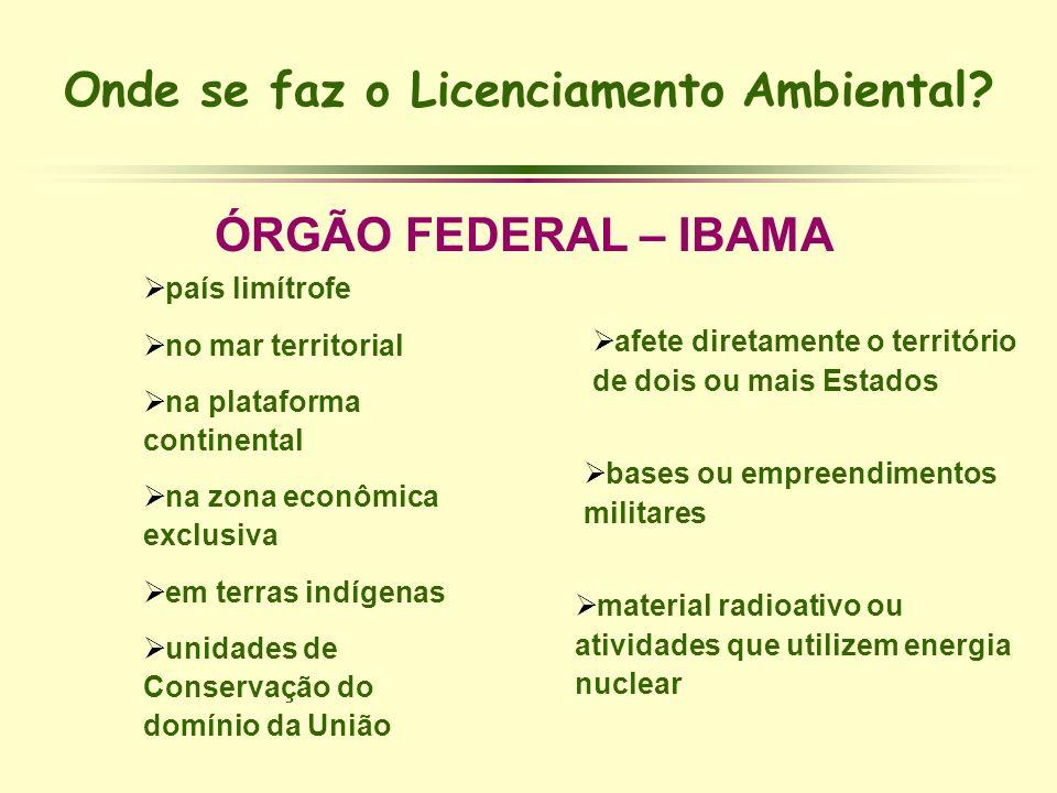 Onde se faz o Licenciamento Ambiental? ÓRGÃO FEDERAL – IBAMA país limítrofe no mar territorial na plataforma continental na zona econômica exclusiva e