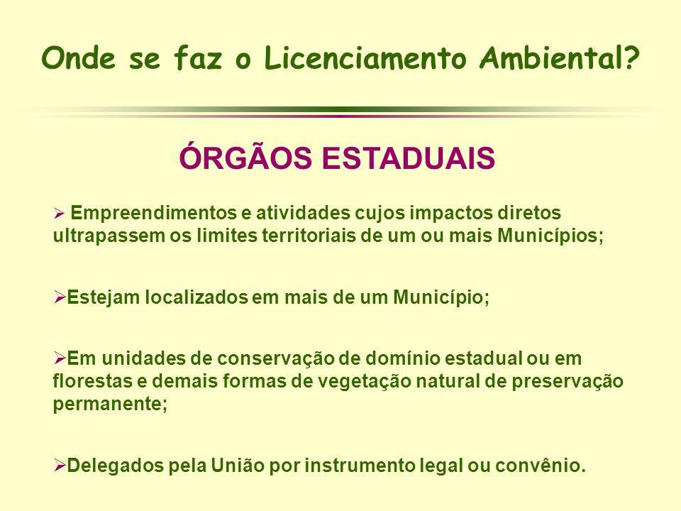 Onde se faz o Licenciamento Ambiental? ÓRGÃOS ESTADUAIS Empreendimentos e atividades cujos impactos diretos ultrapassem os limites territoriais de um